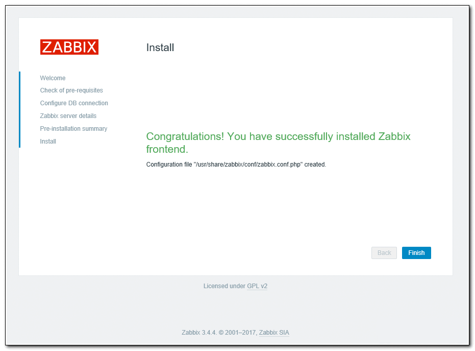 Completing the installation of Zabbix